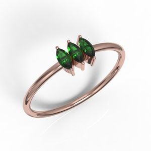 Solid Rose Gold 3 Marquise Cut Green CZ Ring